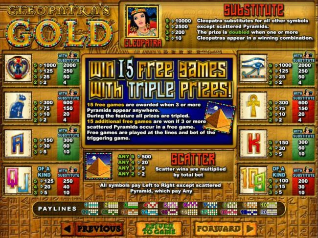 Wild Vegas featuring the video-Slots Cleopatra's Gold with a maximum payout of $250,000