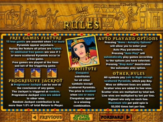 Raging Bull featuring the video-Slots Cleopatra's Gold with a maximum payout of $250,000