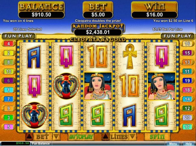 Club UK featuring the video-Slots Cleopatra's Gold with a maximum payout of $250,000
