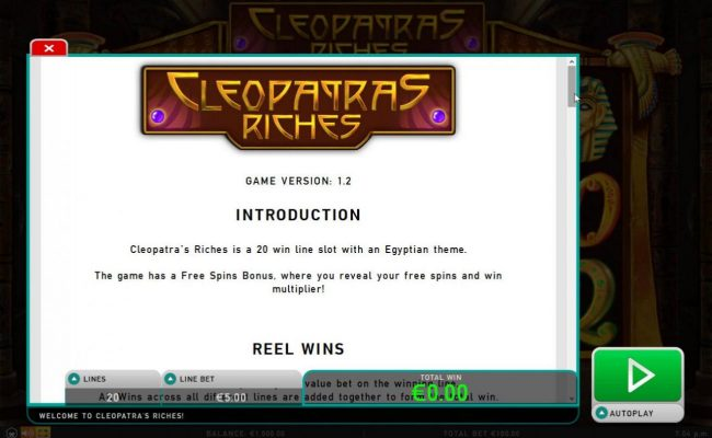 Dream Vegas featuring the Video Slots Cleopatra's Riches with a maximum payout of $50,000