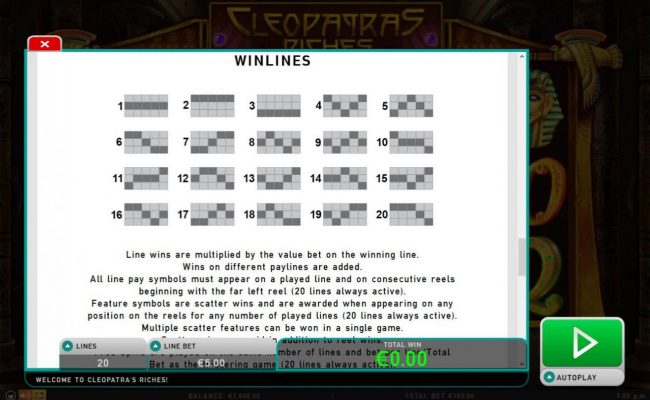 Casimba featuring the Video Slots Cleopatra's Riches with a maximum payout of $50,000