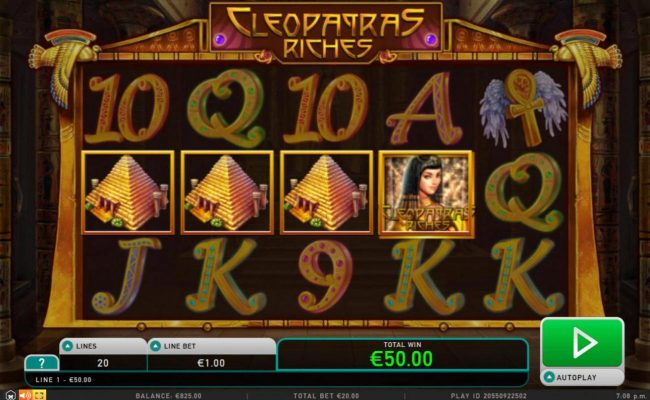 Amsterdam Casino featuring the Video Slots Cleopatra's Riches with a maximum payout of $50,000