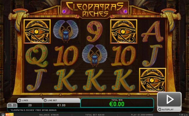 Diamond 7 featuring the Video Slots Cleopatra's Riches with a maximum payout of $50,000