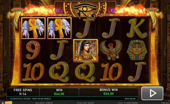 Slotty Vegas featuring the Video Slots Cleopatra's Riches with a maximum payout of $50,000