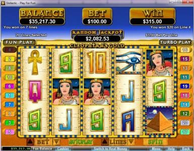 Planet7 Oz featuring the video-Slots Cleopatra's Gold with a maximum payout of $250,000