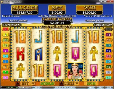 Mega 7's featuring the video-Slots Cleopatra's Gold with a maximum payout of $250,000