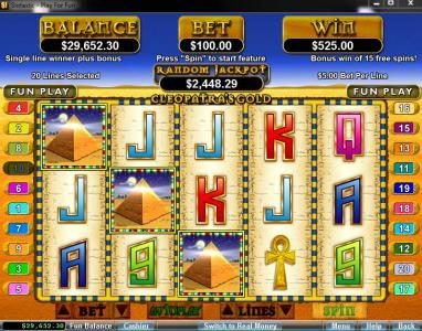 Palace of Chance featuring the video-Slots Cleopatra's Gold with a maximum payout of $250,000