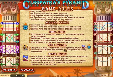 Liberty Slots featuring the Video Slots Cleopatra's Pyramid with a maximum payout of $100,000
