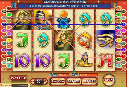 Miami Club featuring the Video Slots Cleopatra's Pyramid with a maximum payout of $100,000