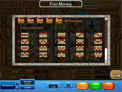 EU Casino featuring the Video Slots Cleopatra's Secrets with a maximum payout of $10,000