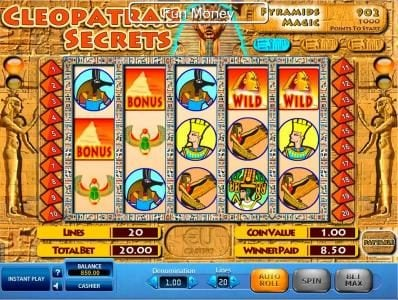 Win 7 featuring the Video Slots Cleopatra's Secrets with a maximum payout of $10,000