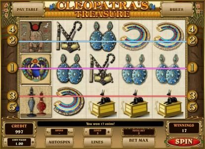 Triple Aces featuring the Video Slots Cleopatra's Treasure with a maximum payout of $10,000