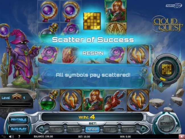 Wild Slots featuring the Video Slots Cloud Quest with a maximum payout of $100,000