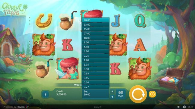 ReelTastic featuring the Video Slots Clover Tales with a maximum payout of $225,000