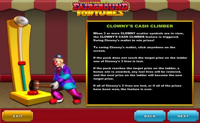 Club 777 featuring the Video Slots Clowny's Fairground Fortunes with a maximum payout of $150,000