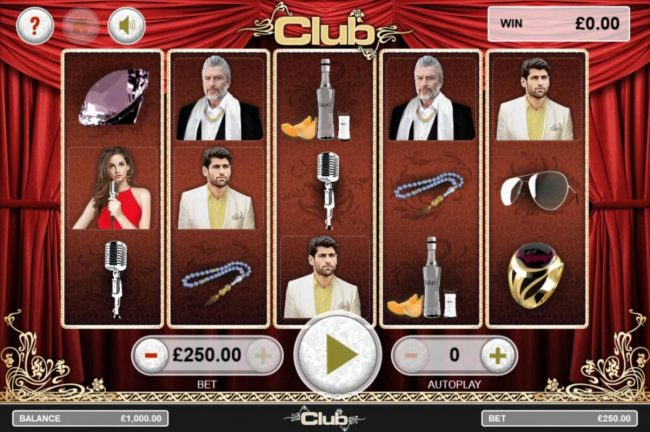 Club :: Main game board featuring five reels and 25 paylines with a $5,000 max payout.