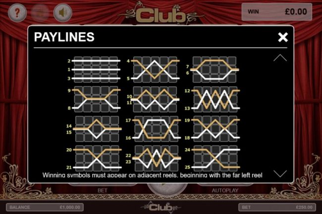 Club :: Payline Diagrams 1-25. Winning symbols must appear on adjacent reels, beginning with the far left reel.