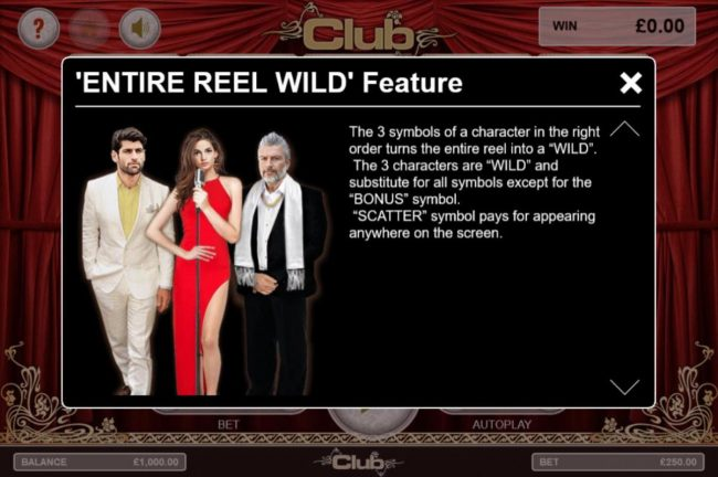 Club :: The 3 symbols of a character in the right order turns the entire reel into a wild.