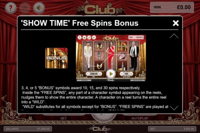 Club :: Show Time Free Spins Bonus Rules