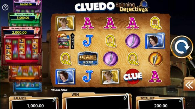 Cluedo Spinning Detectives :: A crime detective themed main game board featuring five reels and 40 paylines with a $250,000 max payout