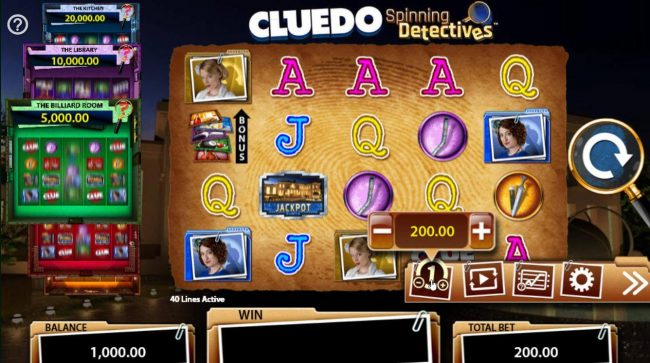 Cluedo Spinning Detectives :: Click on the side menu button to adjust the coin value.