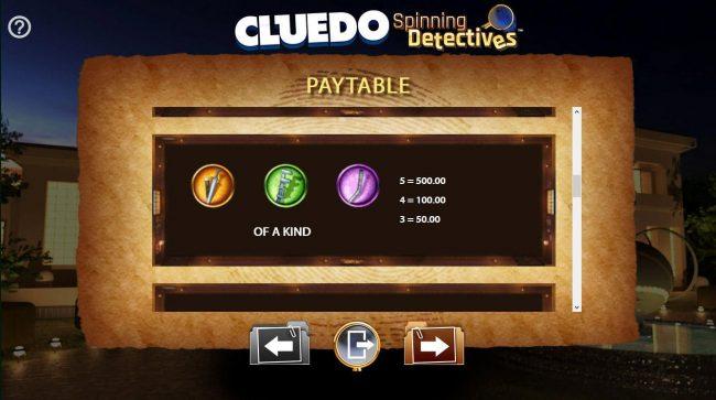 Cluedo Spinning Detectives :: Medium Value Slot Game  Symbols Paytable.