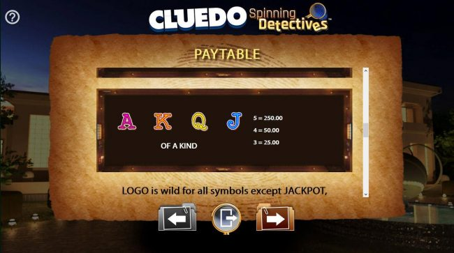 Cluedo Spinning Detectives :: Low value game symbols paytable.