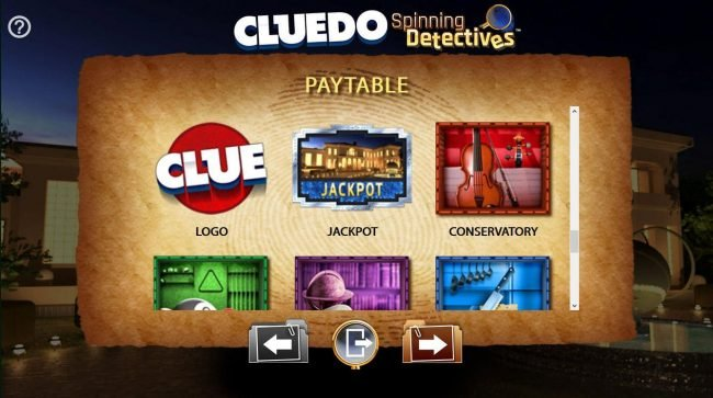 Cluedo Spinning Detectives :: Scatter Symbols Clue game logo, Jackpot and Conservatory