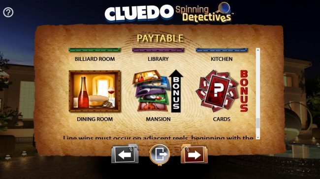 Cluedo Spinning Detectives :: Scatter symbols Dining Room, Mansion and Cards.