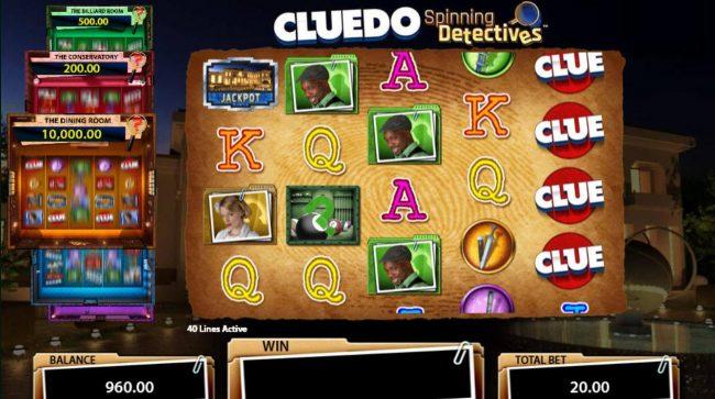 Cluedo Spinning Detectives :: Landing Billiard Room symbol on reel 2 triggers the Billiard Room feature.