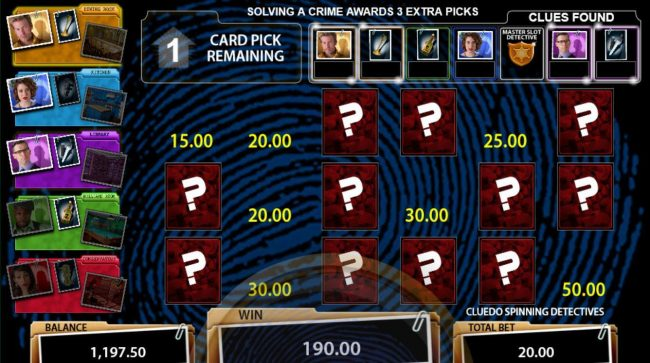 Casino Red Kings featuring the Video Slots Cluedo Spinning Detectives with a maximum payout of $250,000