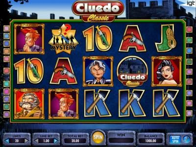 Play slots at Winstar: Winstar featuring the Video Slots Cluedo - Classic with a maximum payout of $250,000