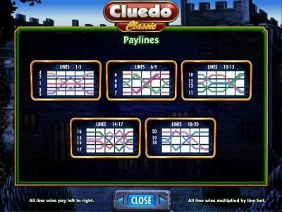 Cluedo - Classic :: payline diagrams