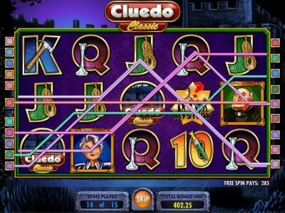 Cluedo - Classic :: multiple winning paylines triggers a 285 coin payout