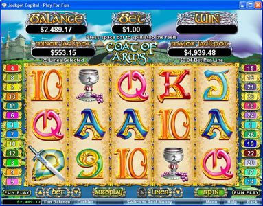 All Star Slots featuring the Video Slots Coat of Arms with a maximum payout of $250,000