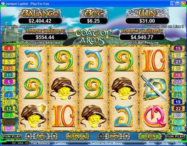 Slotter featuring the Video Slots Coat of Arms with a maximum payout of $250,000