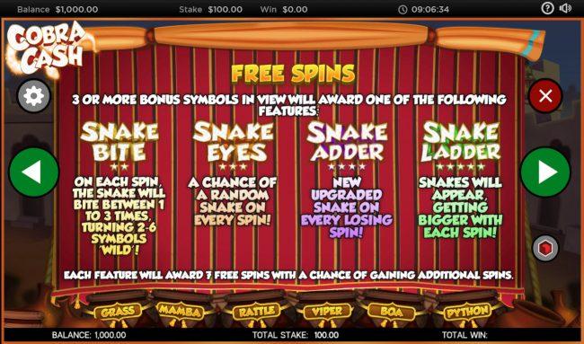 Cobra Cash :: Free Spins Rules