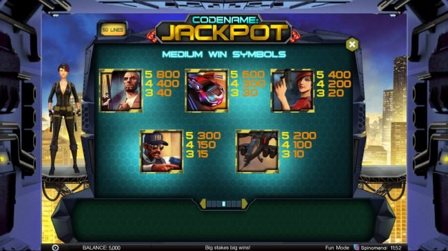 Argo featuring the Video Slots Codename: Jackpot with a maximum payout of $400,000
