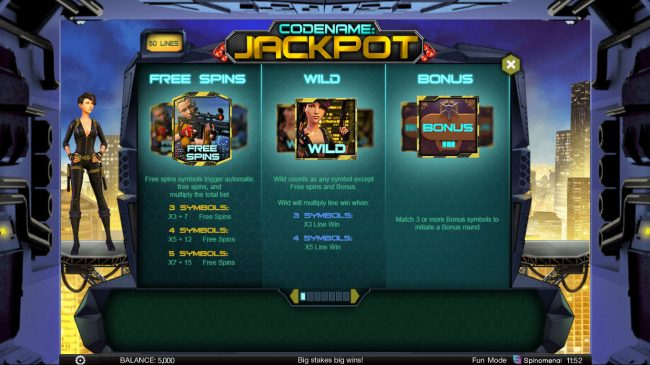ReelTastic featuring the Video Slots Codename: Jackpot with a maximum payout of $400,000