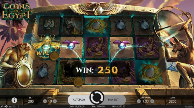 Winzino featuring the Video Slots Coins of Egypt with a maximum payout of $60,000