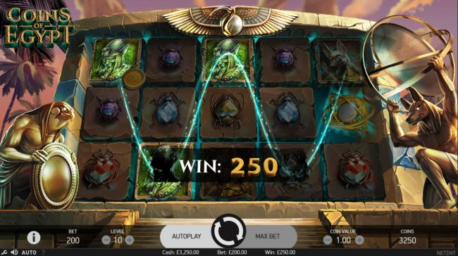 Dragonara featuring the Video Slots Coins of Egypt with a maximum payout of $60,000