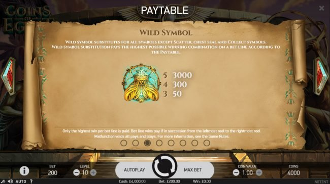 Maxino featuring the Video Slots Coins of Egypt with a maximum payout of $60,000