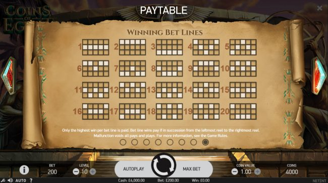 YouWin featuring the Video Slots Coins of Egypt with a maximum payout of $60,000