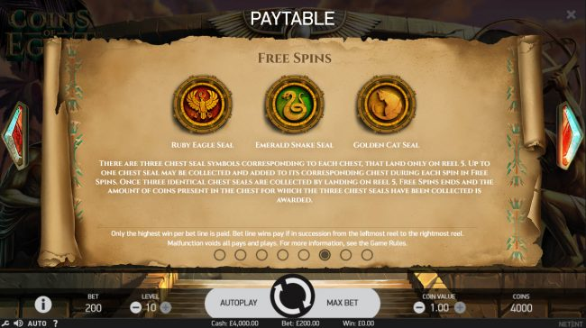 Africa Casino featuring the Video Slots Coins of Egypt with a maximum payout of $60,000