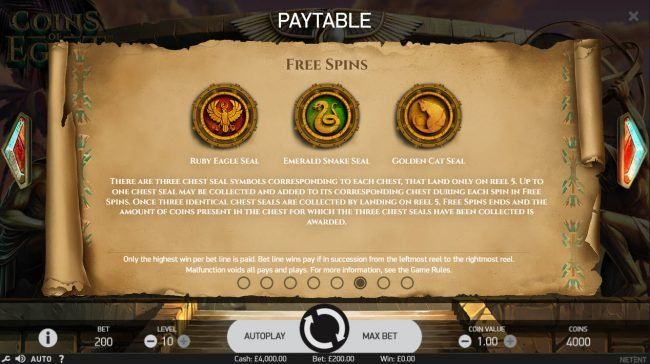 Free Spins featuring the Video Slots Coins of Egypt with a maximum payout of $60,000