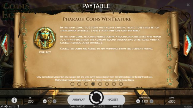 Betchan featuring the Video Slots Coins of Egypt with a maximum payout of $60,000