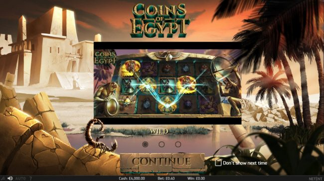 Casino Room featuring the Video Slots Coins of Egypt with a maximum payout of $60,000