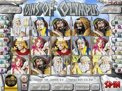 Euro Bets featuring the Video Slots Coins of Olympus with a maximum payout of $10,000