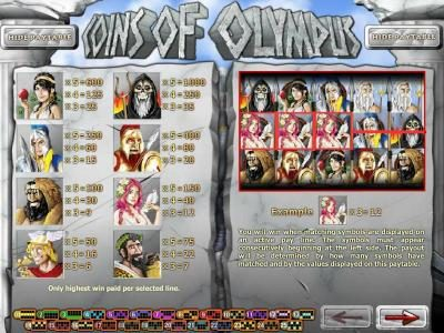 Vegas2Web featuring the Video Slots Coins of Olympus with a maximum payout of $10,000