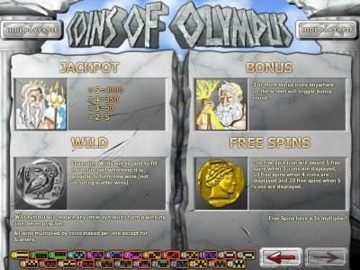 Paradise 8 featuring the Video Slots Coins of Olympus with a maximum payout of $10,000